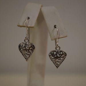 .925 Sterling Silver Filigree Heart Earrings